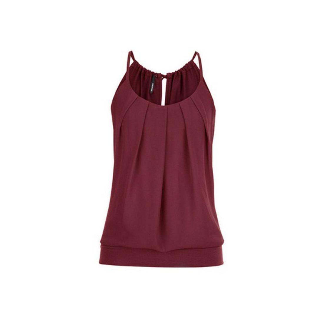Trendinao Women Summer Loose Fit Wrinkled Pleated O Neck Cami Tank Top