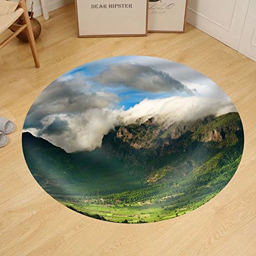 Gzhihine Custom round floor mat Beautiful Landscape of the Mountains in La Palma Canary Islands Spain by Gzhihine