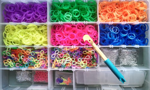 Economy Pack - 3000 Silicone Rubber Bands with Charms, 4 Clip Mix, and Hook for Your Rainbow Loom - Storage Case NOT Included