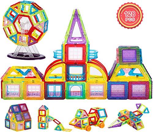 JIEM Magna Tiles,Magnetic Blocks Magnetic Tiles Building Blocks Set for Kids Toddler Educational Toys 128pcs
