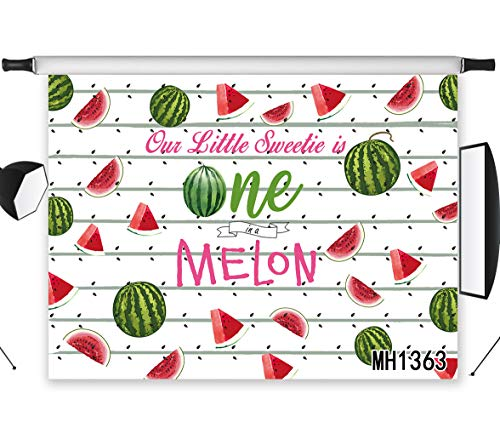 LB Birthday Party Baby Shower Backdrop Melon Backdrops for Photography Sweet Little One Summer Fruit Photo Background 7x5ft Photo Shoot -