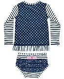 RuffleButts Little Girls Rash Guard 2-Piece Long Sleeve Swimsuit Set - Navy Stripe Polka Dot UPF 50+ Sun Protection - 3T