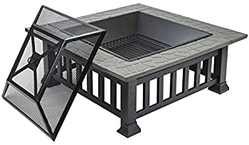 Sorbus Fire Pit Square Table With Screen Cover, Log Grate, Poker Tool, Great Bbq Grill For Outdoor Patio, Backyard, Garden, Camping, Picnic, Bonfire, Attractive Stone Slate (Fire Pit Square Table) 5