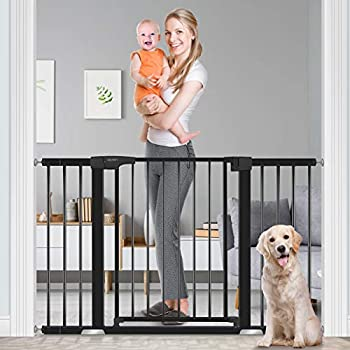 Baby Gate for Doorways and Stairs, RONBEI 51.5″ Auto Close Safety Baby Gate for Kids and Pets, Extra Wide Child Gate Dog Gates for The House, Heavy Duty Metal Walk Through Door (Black)