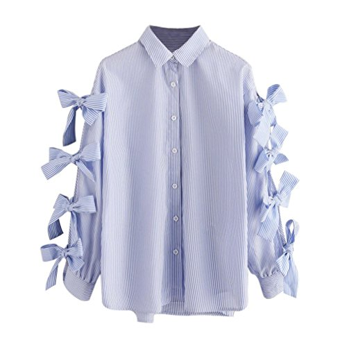 Poliéster Mujer Camiseta Arco Casual Manga Larga Raya Tops Blusa ZzdqrdcH