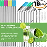 Set of 16 Stainless Steel Straws Ultra Long 10.5 Inch Drinking Metal Straws For Tumblers Rumblers Cold Beverage (8 Straight|8 Bent|4 Brushes)