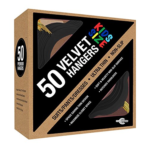 Closet Complete Kids Size, Premium Heavyweight, Velvet Hangers – Ultra-Thin, Space Saving, No-Slip, Perfectly Sized For Kids 4-15 years, - GOLD HOOKS, Black, Set of 50