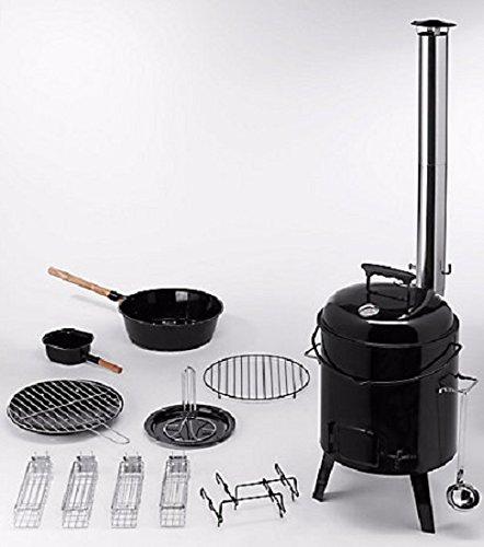 Eintopfofen Outdoor 4in1 Set Gulaschkessel Grillrost Eintopf Ofen Thermostat NEU