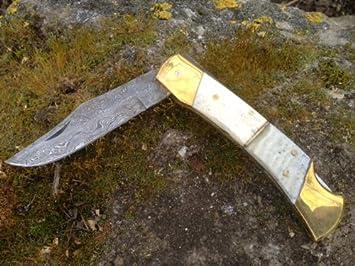 Acero de Damasco cuchillo plegable de forma clásica worker ...