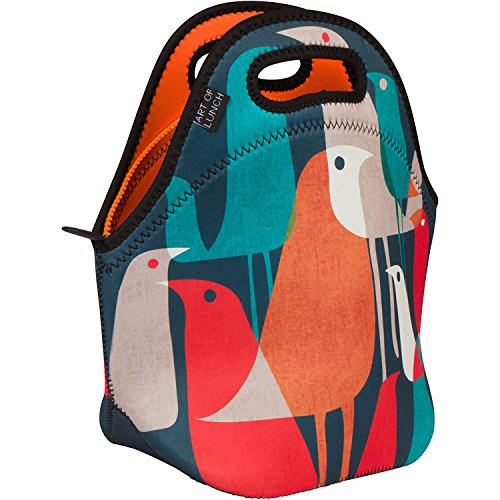 (Art of Lunch Insulated Neoprene Lunch Bag for Women, Men and Kids - Reusable Soft Lunch Tote for Work and School - Design by Budi Kwan (Indonesia) - Flock of)