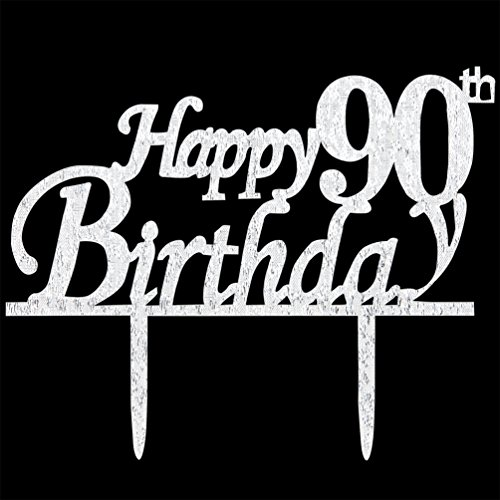 Happy 90th Birthday Cake Topper 90 Silver Glitter Party Decorations