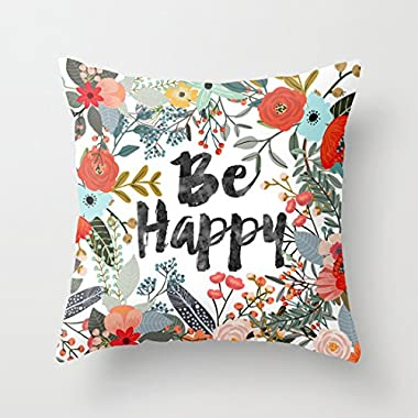 wendana Sayings Be Happy with Flowers Throw Pillow Covers 18 x 18 Pillow Covers Decorative Throw Pillows Covers for Girls