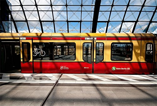 CSFOTO 8x6ft Background for S Bahn Berlin Train Station Photography Backdrop Train Platform Sunny Unerground Subway Passenger Sunny Tourism Resort Trip Holiday Photo Studio Props Vinyl Wallpaper
