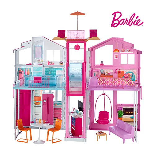 Barbie-DLY32-ESTATE-Three-Story-Town-House-Colourful-and-Bright-Doll-House-that-Comes-with-Furniture-and-Accessories-Playset