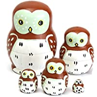 New 5PCS Wooden Madness Russian Babushka Matryoshka Owl Pattern Doll Nesting Doll Kids Collection Toy By KTOY