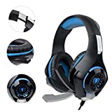 SUPERSUN Gaming Headset, Gaming Headphones 7.1 Channel Surround Sound 3.5mm Mic with LED lights for PS4 Xbox One PC (Blue)