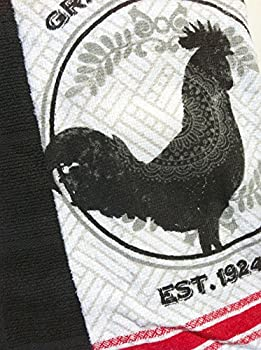 Grain and Feed Rooster & Black Kitchen Cotton Towels (2 Towels)