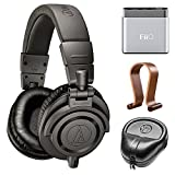 Audio-Technica Limited Edition Professional Studio Monitor Headphones - Matte Gray w/ Amplifier Bundle Includes, FiiO A1 Portable Headphone Amplifier, Slappa Headphone Case And Wood Headphone Stand