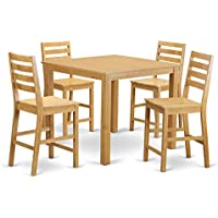 East West Furniture CAFE5-OAK-W 5-Piece Gathering Table Set