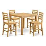 Cheap East West Furniture CAFE5-OAK-W 5 Pc Set-Counter Height Square Table 4 Stools, Wood Seat, Oak Finish