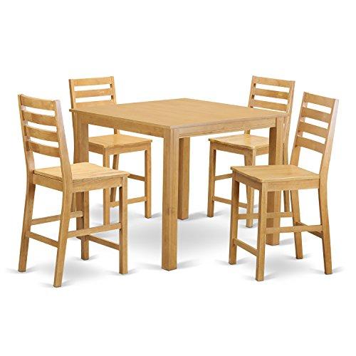 East West Furniture CAFE5-OAK-W 5-Piece Gathering Table Set