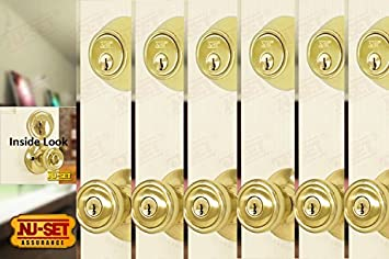 6 Sets Of Contractor Same Keyed Entry Door Knob With Single Cylinder  Deadbolt, Polish Brass