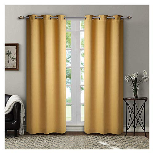 SINGINGLORY Yellow Blackout Curtains, 2 Panels Set Linen Textured Thermal Insulated Grommet Window Curtains for Bedroom and Living Room (42x84 Inch, Yellow) (Yellow Golden Curtains)