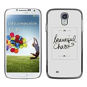 [Neutron-Star] Snap-on Series Teléfono Carcasa Funda Case Caso para Samsung Galaxy S4 [Hermoso Caos Gris Caligrafía texto]