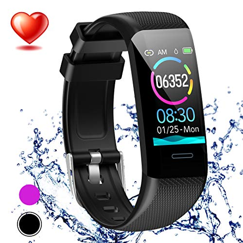 Beaulyn Fitness Tracker Watch Heart Rate Monitor-1.14'' Color Screen IP67 Waterproof Activity Tracker,Sleep Monitor,Pedometer Smart Wrist Band for Women Men, Android iOS