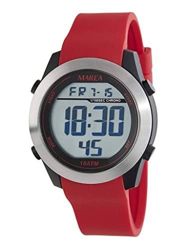 Reloj Marea Digital Hombre B35294/3 Correa Caucho Rojo: Amazon.es: Relojes