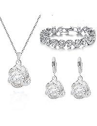 18 ct Gold Plated White Zirconia Austrian Crystals Elegant Set Necklace Earrings Bracelet