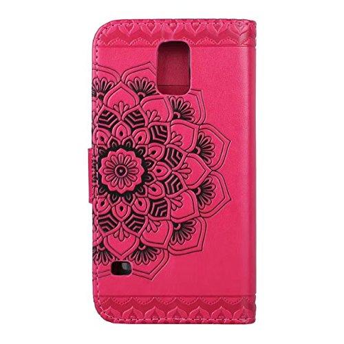 Carcasas y fundas Móviles, Para Samsung Galaxy S5 Funda, medio diseño de flores [correa para la muñeca] Funda de cuero premium PU Flip para el Samsung Galaxy S5 i9600 ( Color : Rose ) Rose
