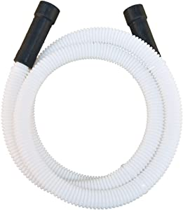 Eastman 91225 Universal-Fit Corrugated Plastic Dishwasher Discharge Hose, 6 Ft Length, White
