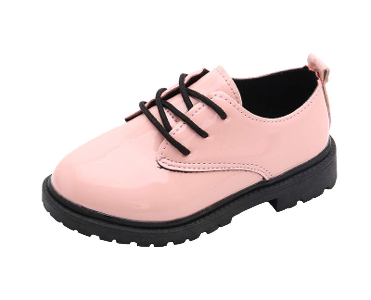 WUIWUIYU Boys Girls Lace-up School Uniform Dress Oxfords Casual Shoes Pink Size 2 M