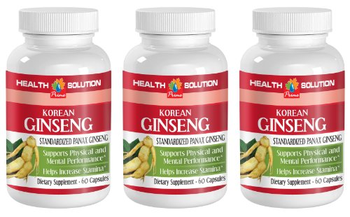 Natural male performance pills - KOREAN GINSENG 350mg - Ginseng male libido - 3 Bottles 180 Capsules