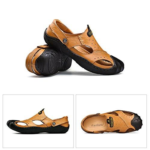 Hombre Para Cerradas Aire Verano Cuero Dedo de H del Libre Mastery Marrón Sandalias Zapatos Calzado Caminar Moda Pie Al Playa x4q0xXI