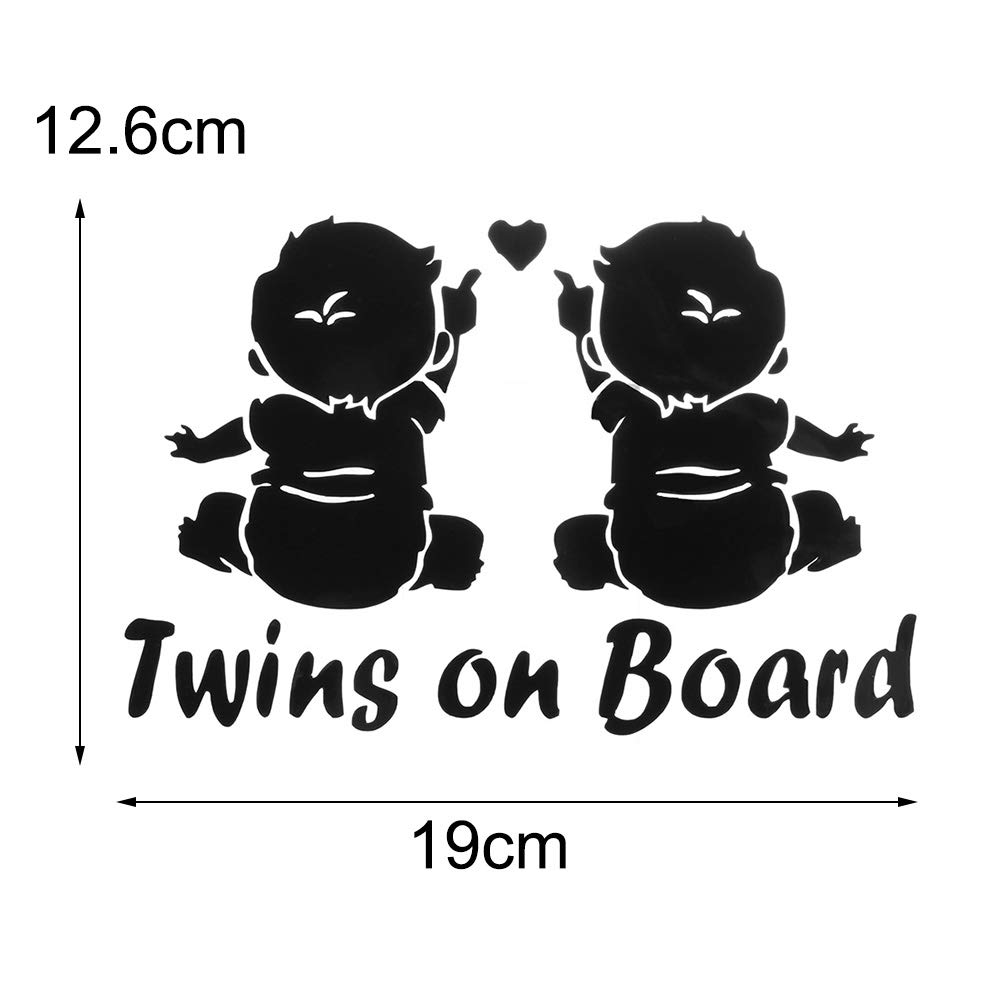 1 PC Auto Cartoon Decoration Vinyl Window Car Sticker Decals Twins Baby On Board