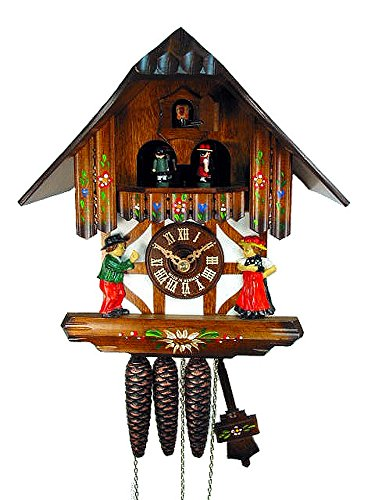 - Original German Cuckoo/coo-coo Clock (Certified), Mechanical 1-Day Movement with Music, Dancing Figurines, Timber-Framed House/Chalet, from The Black-Forest, Germany
