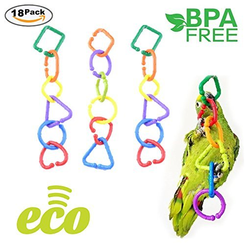 Plastic C-clips Hooks Chain C-links Sugar Glider Rat Parrot Cockatoos Cockatiels Conure Macaws Bird Pet Child Toy Parts DIY 18 Large Size