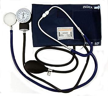 Esfigmomanómetro aneroide Valuemed para medir la presión arterial + estetoscopio de doble cabeza + funda + 3 puños: Amazon.es: Jardín