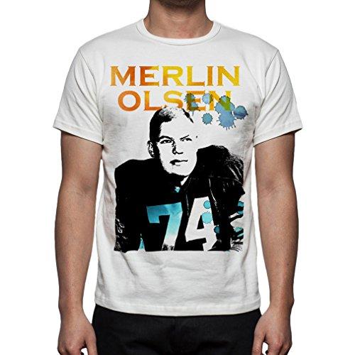 - Palalula Men's American Football NFL Los Angeles Rams Merlin Olsen Tribute T-Shirt XXXL White