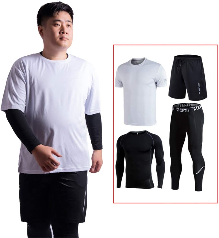 Ddl Mens 4Pcs Sports Gym Fitness Clothing Set Long Sleeve+Short Sleeve Base Layers T Shirts+Trousers+Shorts Loose Fitting Fit for Basketball Sport Running