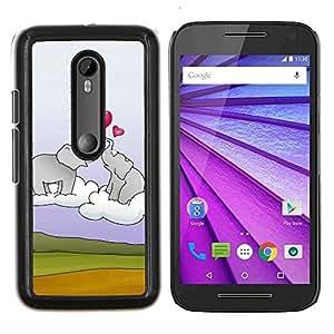 YiPhone /// Prima de resorte delgada de la cubierta del caso de Shell Armor - Elefante y el corazón - Motorola MOTO G3 / Moto G (3nd Generation)