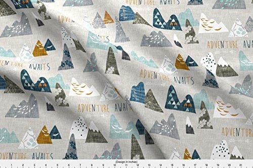 Spoonflower Adventure Awaits (Earth) Regular by nouveau_bohemian - Custom Fabric with Printed on Basic Cotton Ultra Fabric by the - Fabrics Nursery