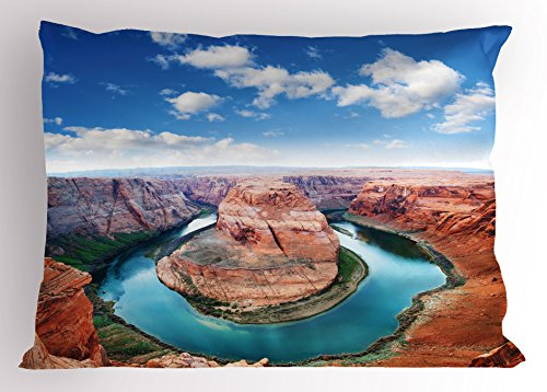 Ambesonne USA Pillow Sham, Horse Shoe Bend North Rim Grand Canyon Page Arizona Famous Tourist Attractions, Decorative Standard King Size Printed Pillowcase, 36 X 20 Inches, Cinnamon Blue ()