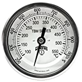 Winters TBM Series Stainless Steel 304 Dual Scale Bi-Metal Thermometer, 6'' Stem, 1/2'' NPT Fixed Center Back Mount Connection, 3'' Dial, 200-1000 F/C Range
