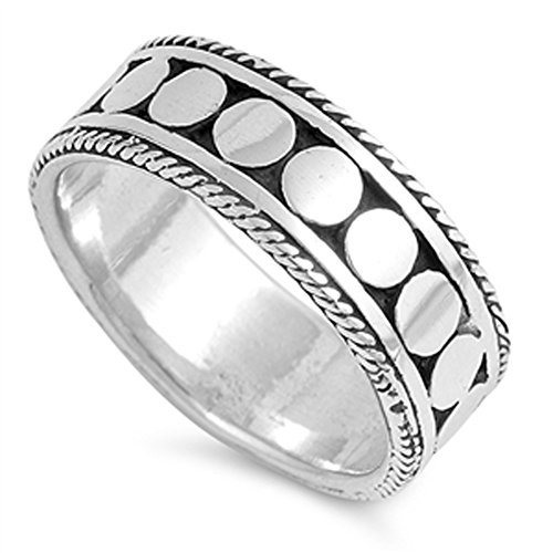 Bali Rope Twist Dot Bead Wedding Ring New .925 Sterling Silver Band Size (Sterling Shiny Twist Bead)