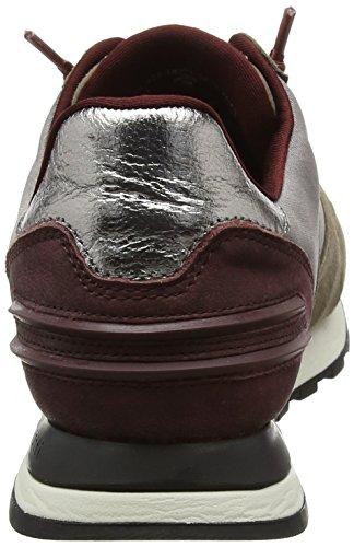 Bugatti Damen 422285023434 Sneaker Grau (grey/bordo)