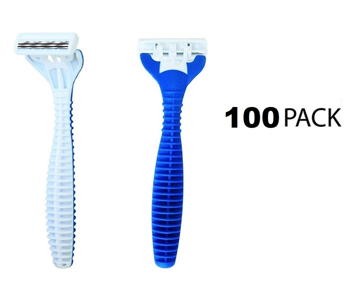 Spartan Razor -100 Triple Blade Men's Razors with Aloe Strip - Box of Disposable Safety Razors for Men with 3 Blades - 100 Pack