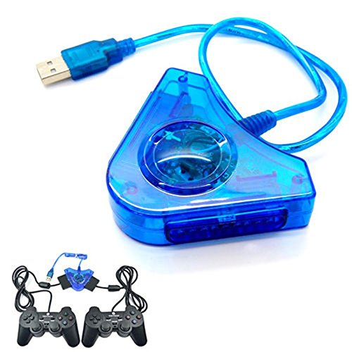Ziaxa(TM) New Top Quality Dual II Controller Console Joystick USB 2.0 Laptop PC Adapter Converter for PS2